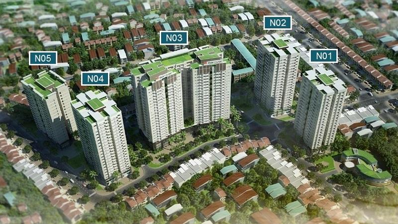 Tổ hợp BRG Berriver Jardin với 5 tòa chung cư, trong đó 2 tòa đã bàn giao trước đó