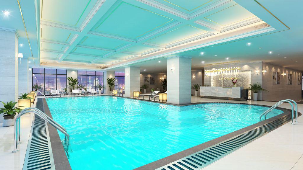 Tiện ích bể bơi bốn mùa tại chung cư Le Capitole 27 Thái Thịnh