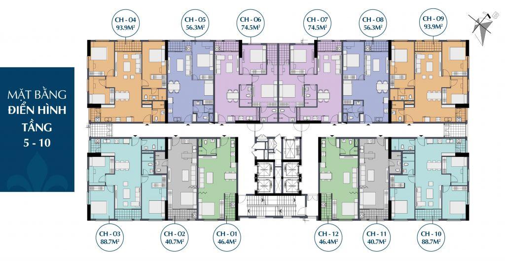 Mặt bằng điển hình tầng 5-10 căn hộ chung cư Le Capitole 27 Thái Thịnh 2020