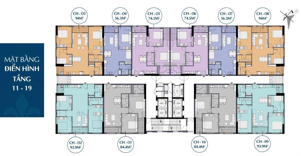 Mặt bằng điển hình tầng 11-19 căn hộ chung cư Le Capitole 27 Thái Thịnh 2020