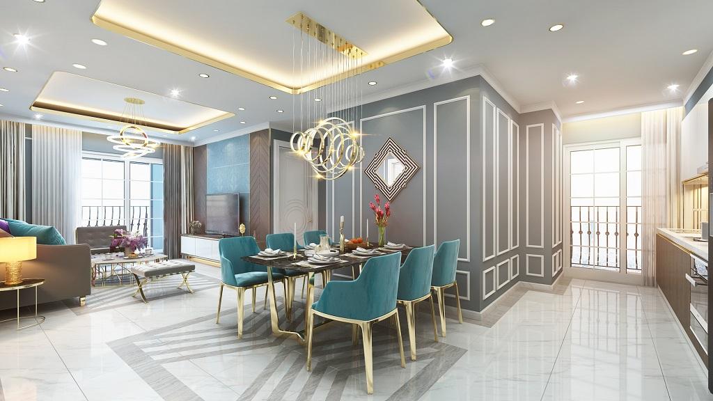 Phòng khách căn 3 ngủ Dự án chung cư Le Capitole 27 Thái Thịnh 2020