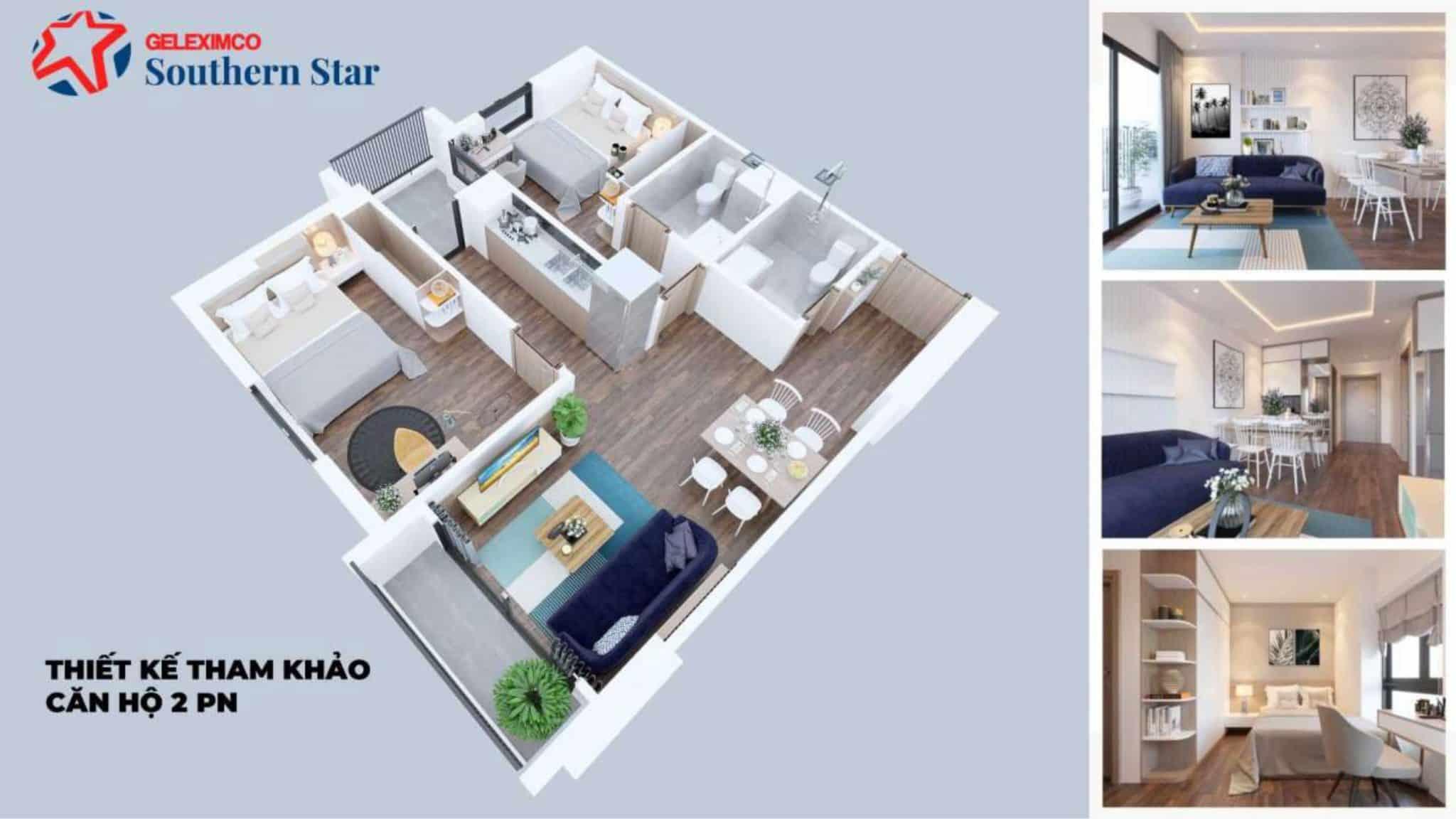 Phối cảnh bóc mái căn 2 ngủ 60-64m2 Dự án Geleximco 897 Giáp Bát Giải Phóng