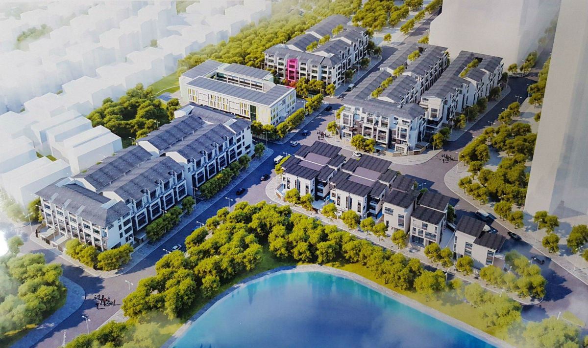 Phối cảnh Flycam Dự án Biệt thự Hoàng Thành Villas Mộ Lao - Làng Việt Kiều Châu Âu