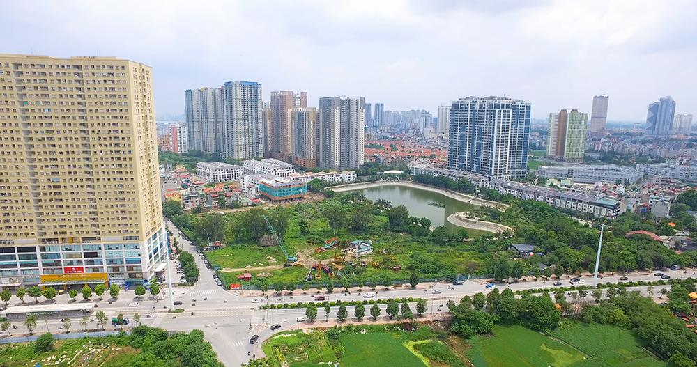 Từ phía đường Tố Hữu nhìn về dự án Hoàng Thành Villas