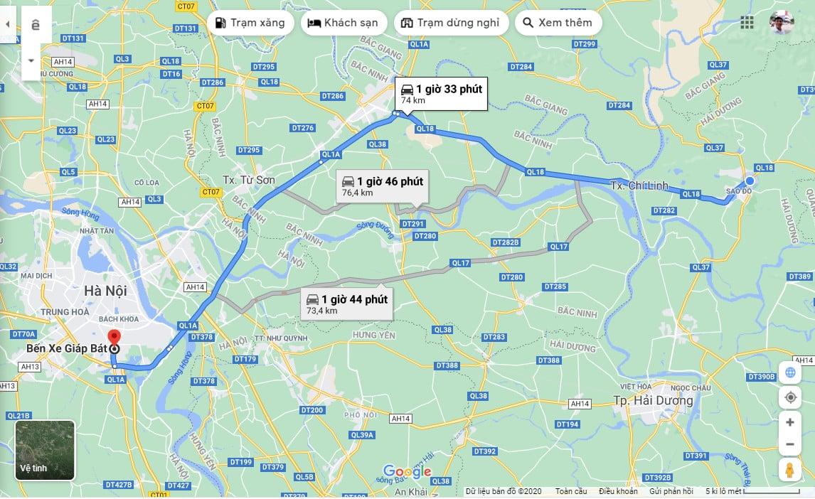 Cự ly di chuyển bằng ô tô từ Dự án Chí Linh Palm City về Bến xe Giáp Bát - Hà Nội
