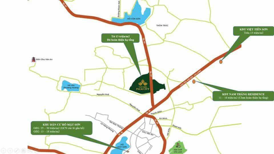 Dự án Chí Linh Palm City sở hữu tọa độ Kim Cương nút giao QL 18 với QL 37 chiến lược