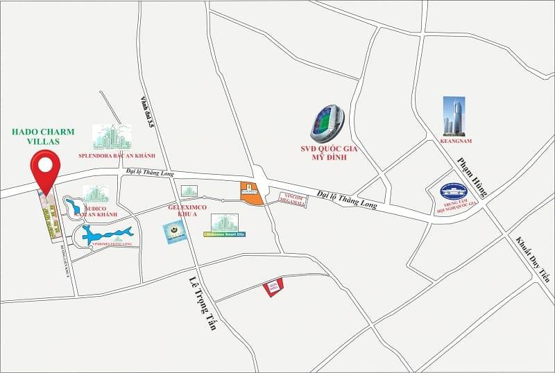 Vị trí Kim cương Đại lộ Thăng Long Biệt thự Liền kề Hà Đô Charm Villas