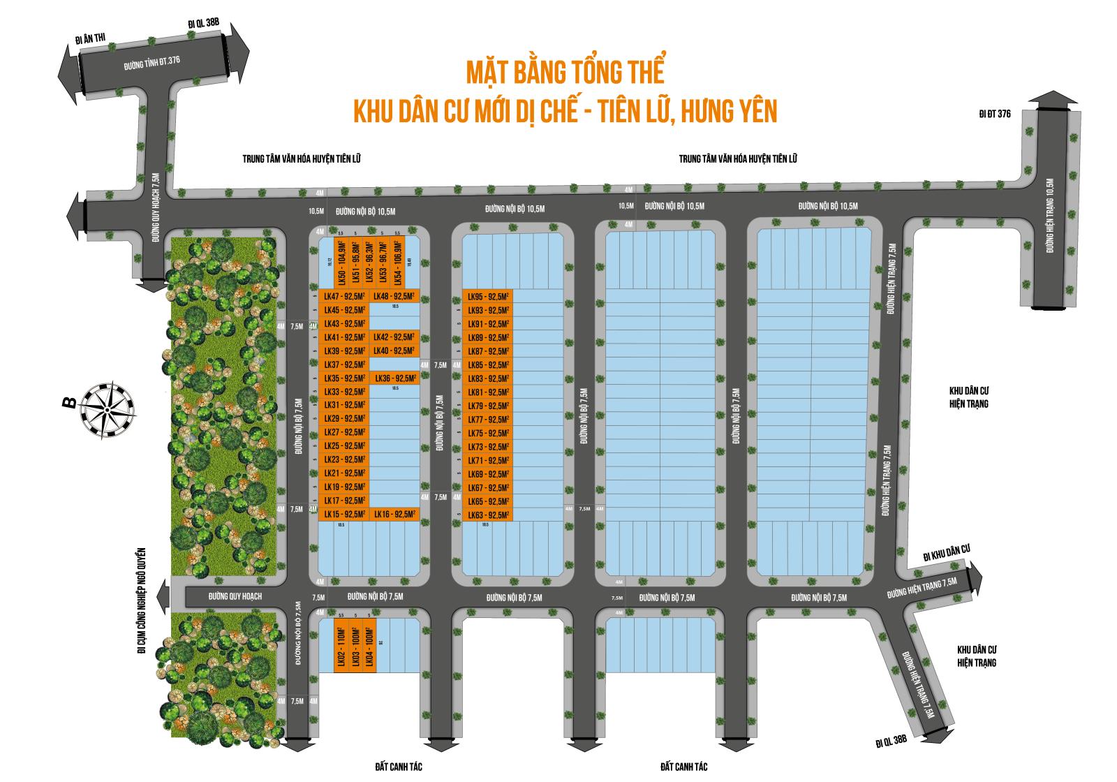 Mặt bằng phân lô Dự án Đất nền Dị Chế Tiên Lữ 2020
