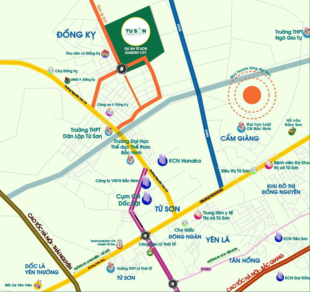 Vị trí Chiến lược án ngữ Tọa độ Kinh doanh của Dự án Từ Sơn Garden City Đồng Kỵ