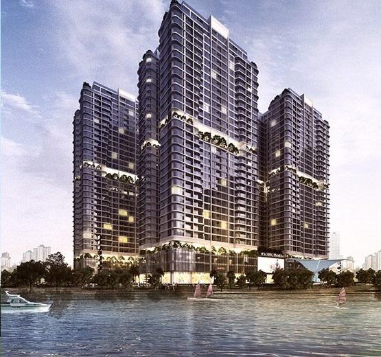 4 tòa Căn hộ Chung cư Linh Đàm Premier City lúc hoàng hôn view hồ