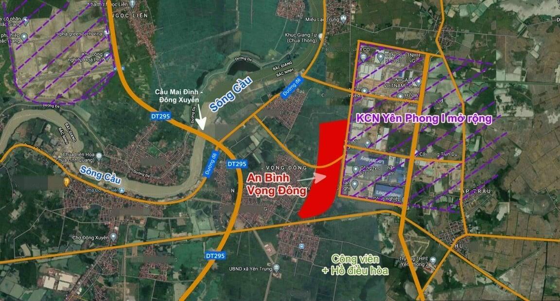 Vị trí Dự án Vọng Đông Yên Trung Yên Phong đắc địa