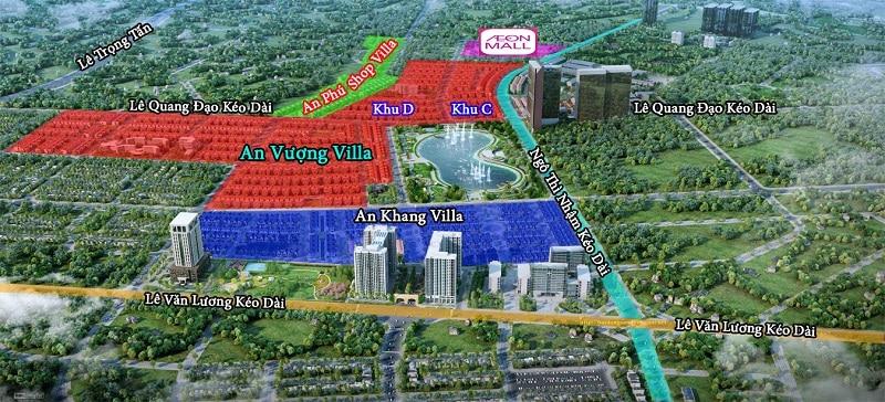 Quy hoạch phân khu Khu đô thị Nam Cường Biệt thự An Khang, An Vượng, An Phú Shopvilla đẳng cấp