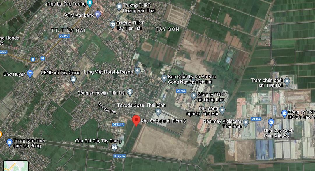 Vị trí Dự án Khu dân cư Trái Diêm 3 Tiền Hải Thái Bình