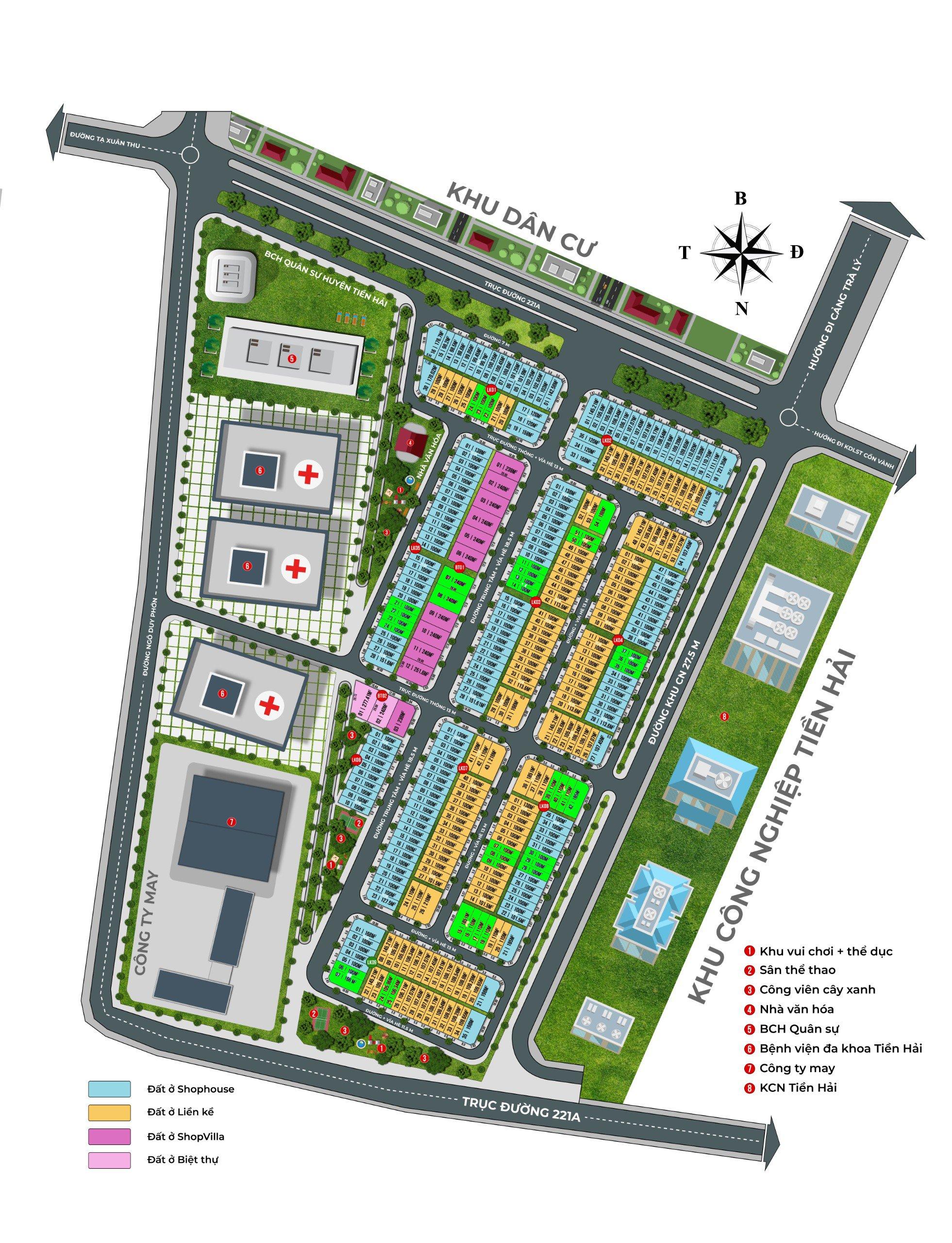 Quy hoạch Phân lô Dự án Khu đô thị Trái Diêm 3 - Tiền Hải Thái Bình