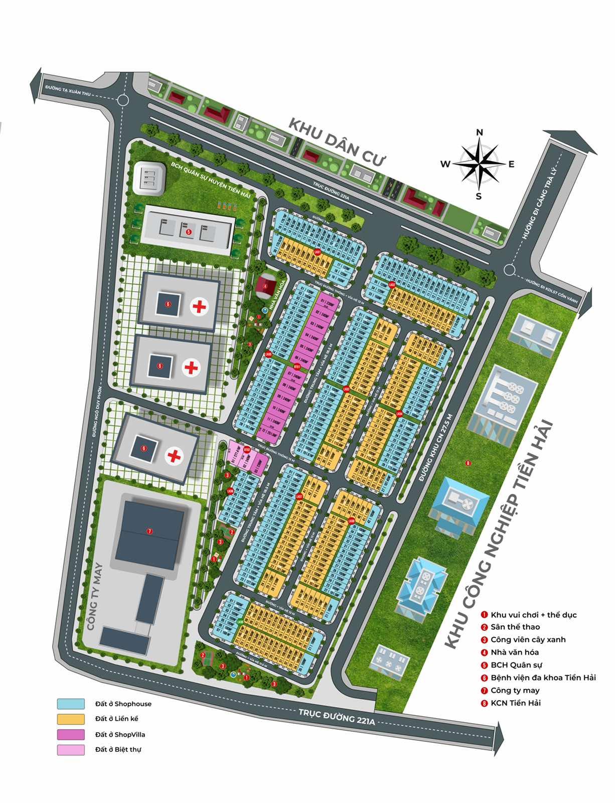 Mặt bằng phân lô cập nhật tháng 5/2021 Dự án Tiền Hải Center City Thái Bình