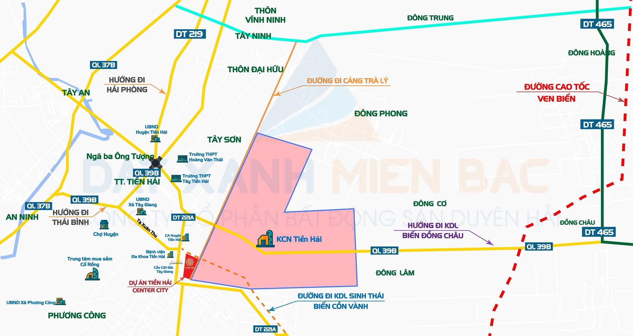 Tương quan vị trí KCN Tiền Hải liền kề Tiền Hải Center City với Cao tốc ven biển Quảng Ninh - Thanh Hóa