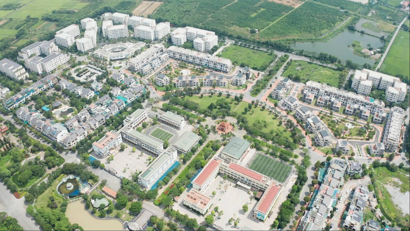 Flycam thực tế Giai đoạn 2 KĐT Đặng Xá - Biệt thự Lan Viên 1 (BT2), Lan Viên 2 (BT3) và trường Tiểu học, THCS Cao Bá Quát