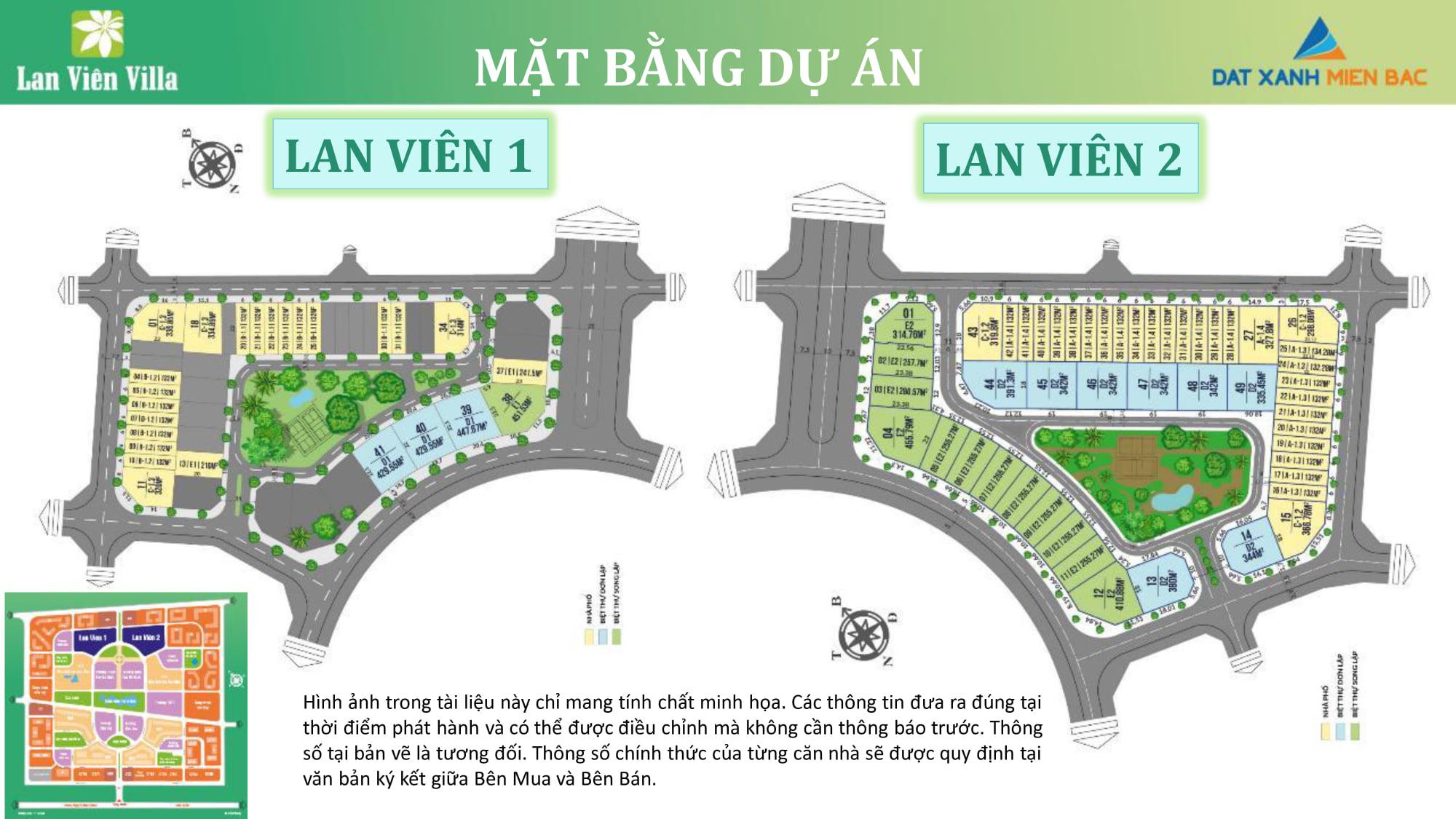 Mặt bằng phân lô Biệt thự Shophouse Lan Viên 1 - BT2 và Lan Viên 2 - BT3 KĐT Đặng Xá