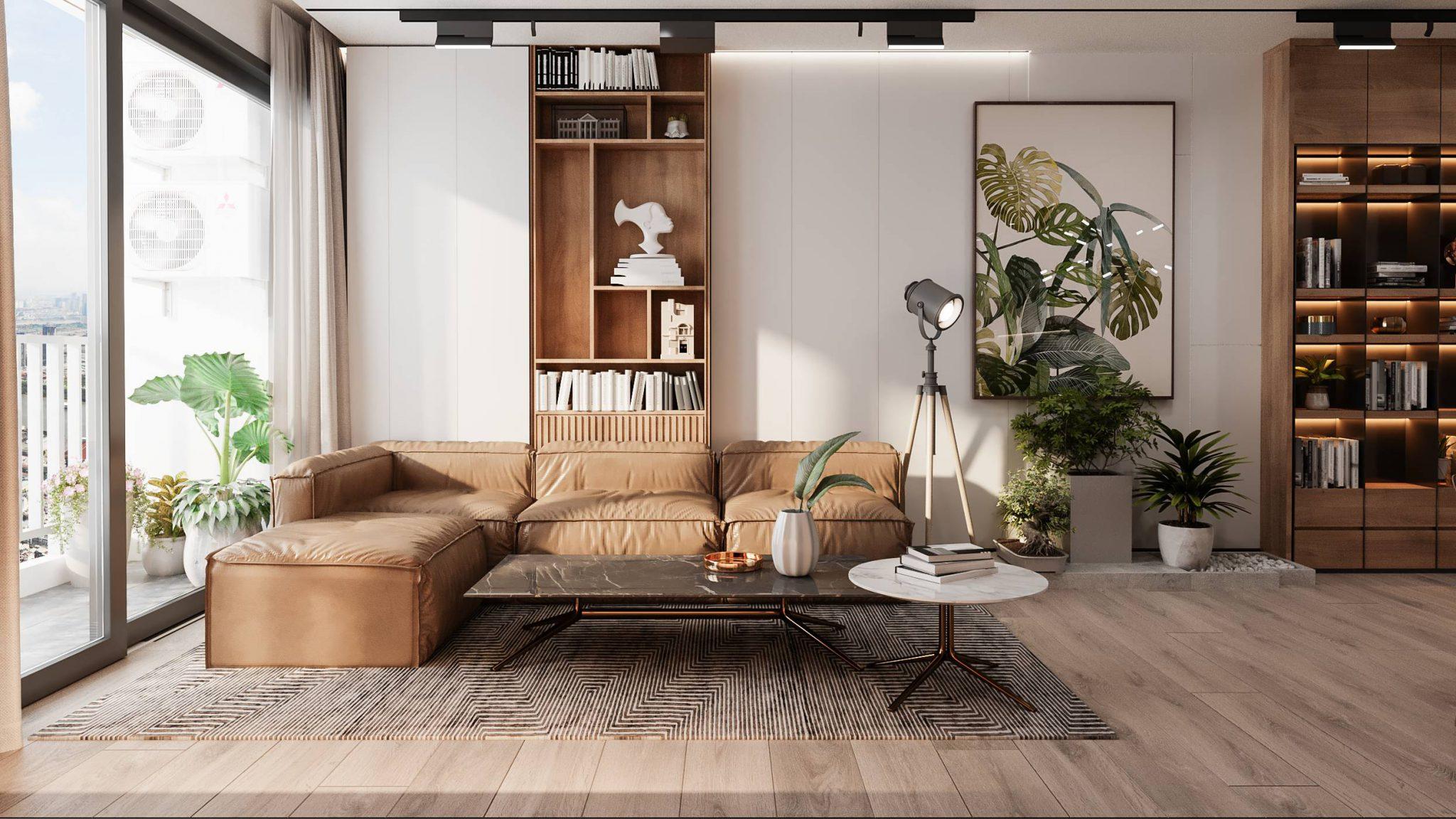Không gian phòng khách Chung cư Feliz Homes với kính tràn ngoại cỡ cho tầm view rộng mở triệu đô