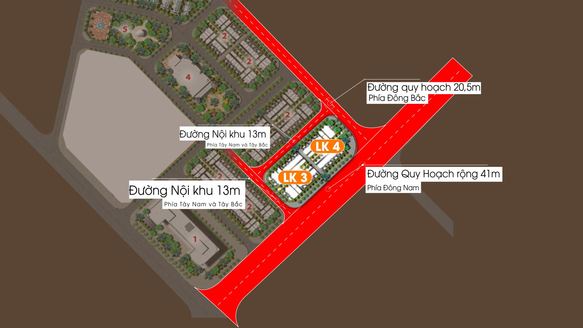 Phân khu Biệt thự Liền kề LK3 vs LK4 Dự án Vimefulland Cổ Dương Helianthus Center Red River 2021