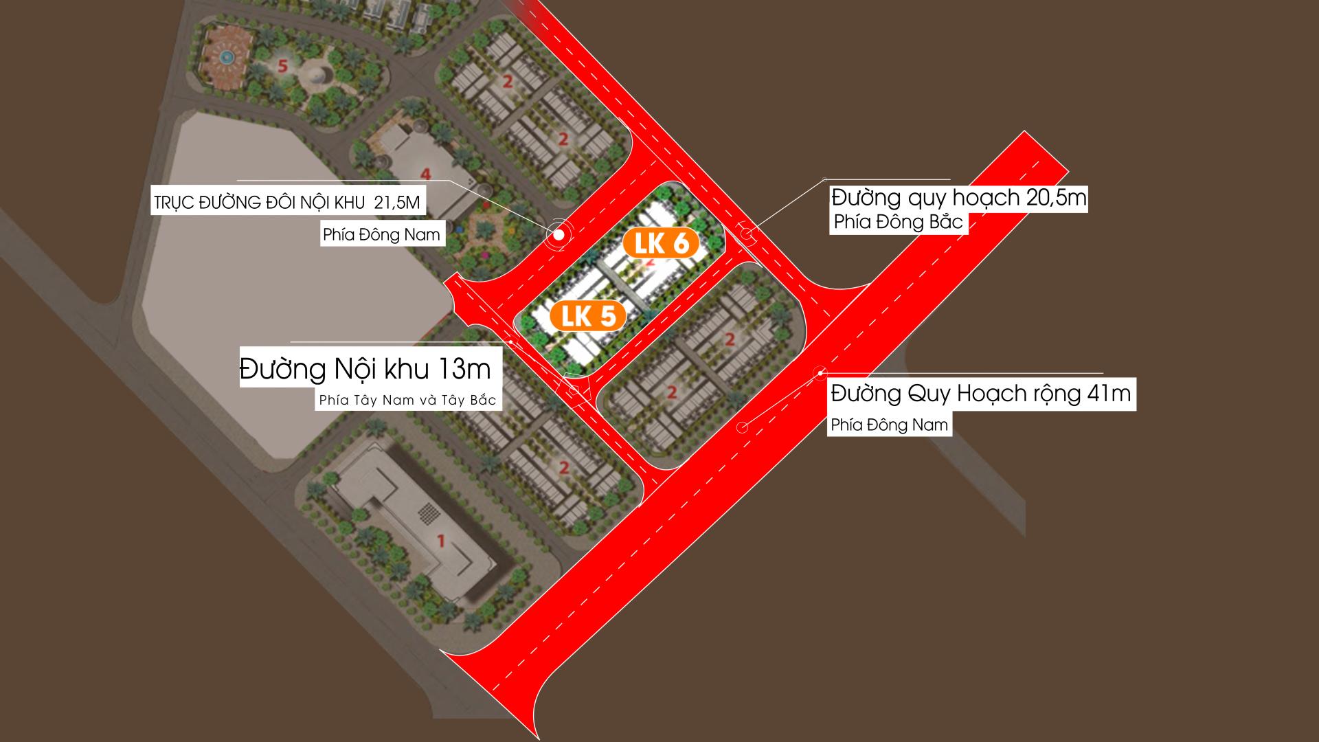 Phân khu Biệt thự Liền kề LK5 vs LK6 Dự án Vimefulland Cổ Dương Helianthus Center Red River 2021