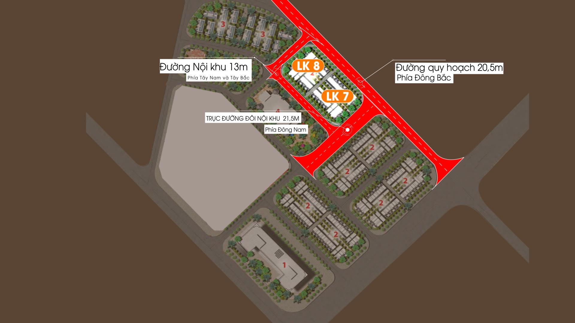 Phân khu Biệt thự Liền kề LK7 vs LK8 Dự án Vimefulland Cổ Dương Helianthus Center Red River 2021