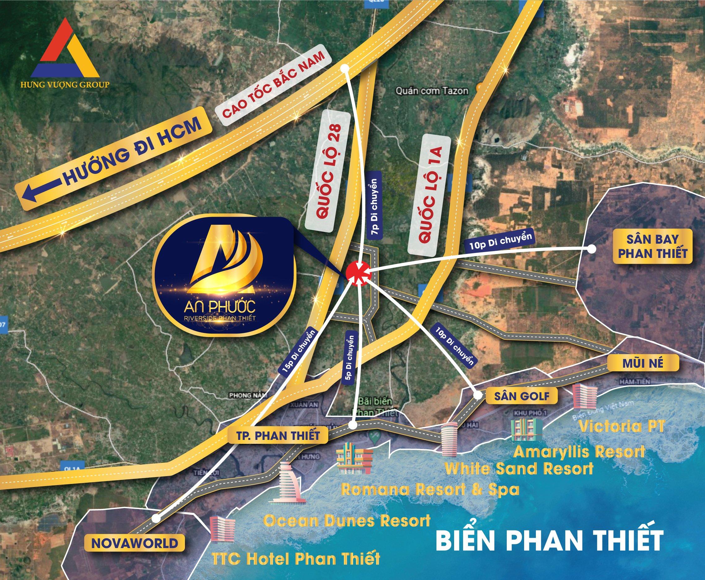 Tọa độ vị trí Dự án An Phước Riverside Phan Thiết Hàm Thắng