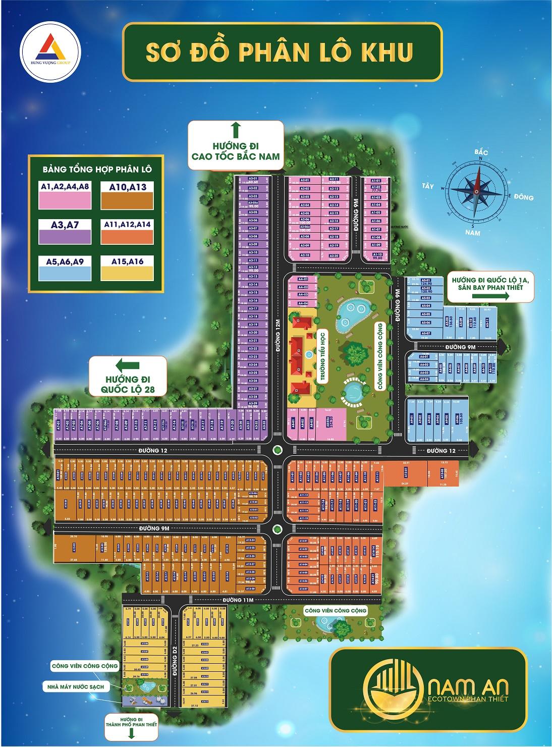Sơ đồ Phân lô Khu A Dự án Nam An Eco Town Phan Thiết