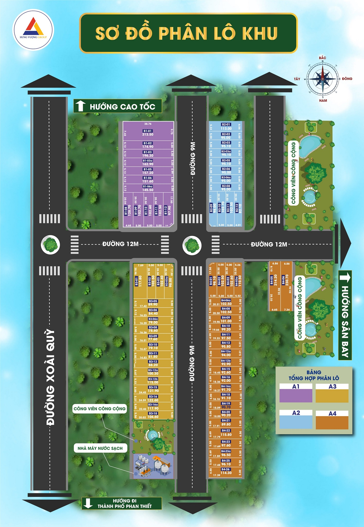 Sơ đồ Phân lô Khu B Dự án Nam An Eco Town Phan Thiết
