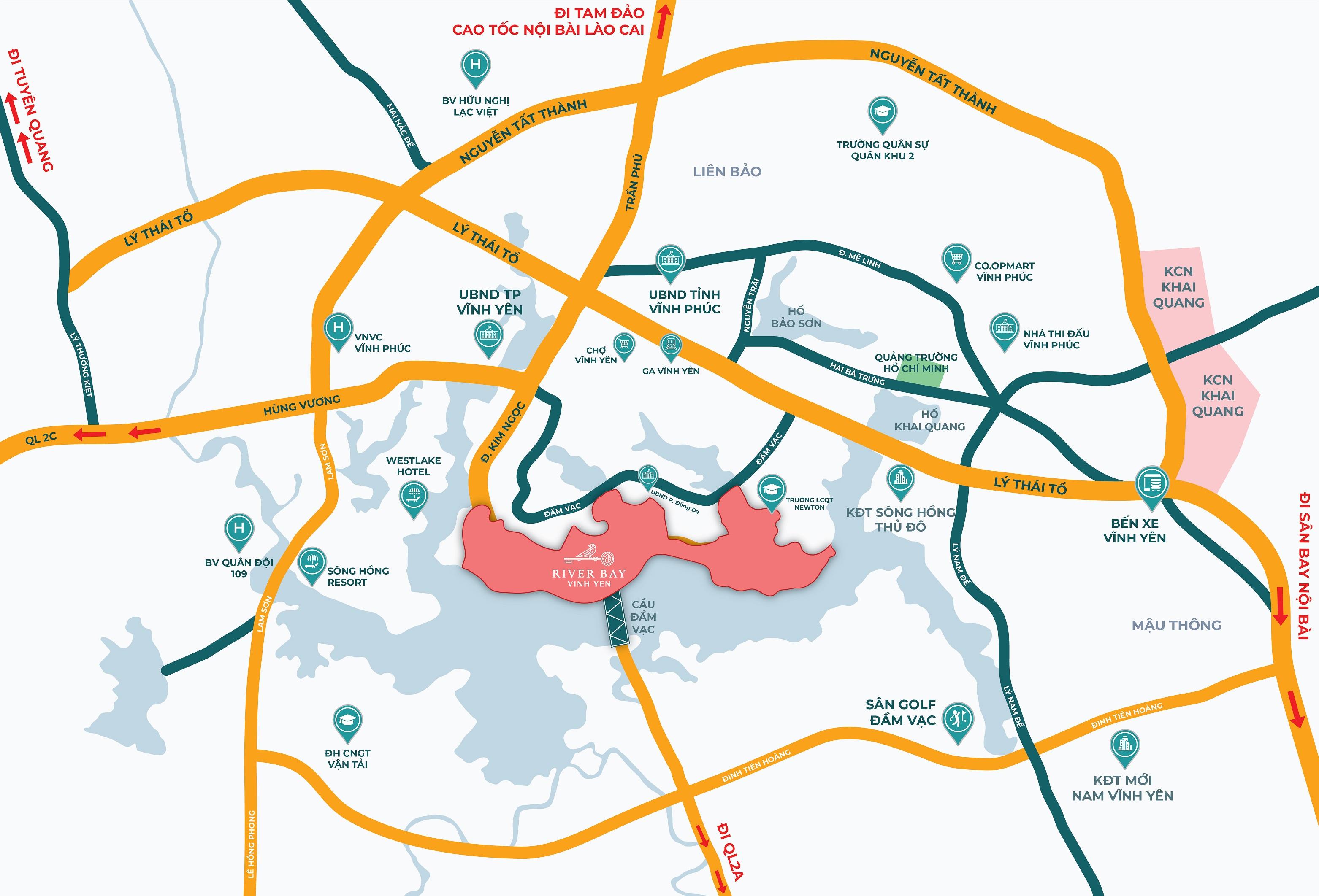Dự án River Bay Vĩnh Yên nằm bên bờ bắc Đầm Vạc liền kề Trung tâm Hành Chính - Chính Trị Vĩnh Phúc