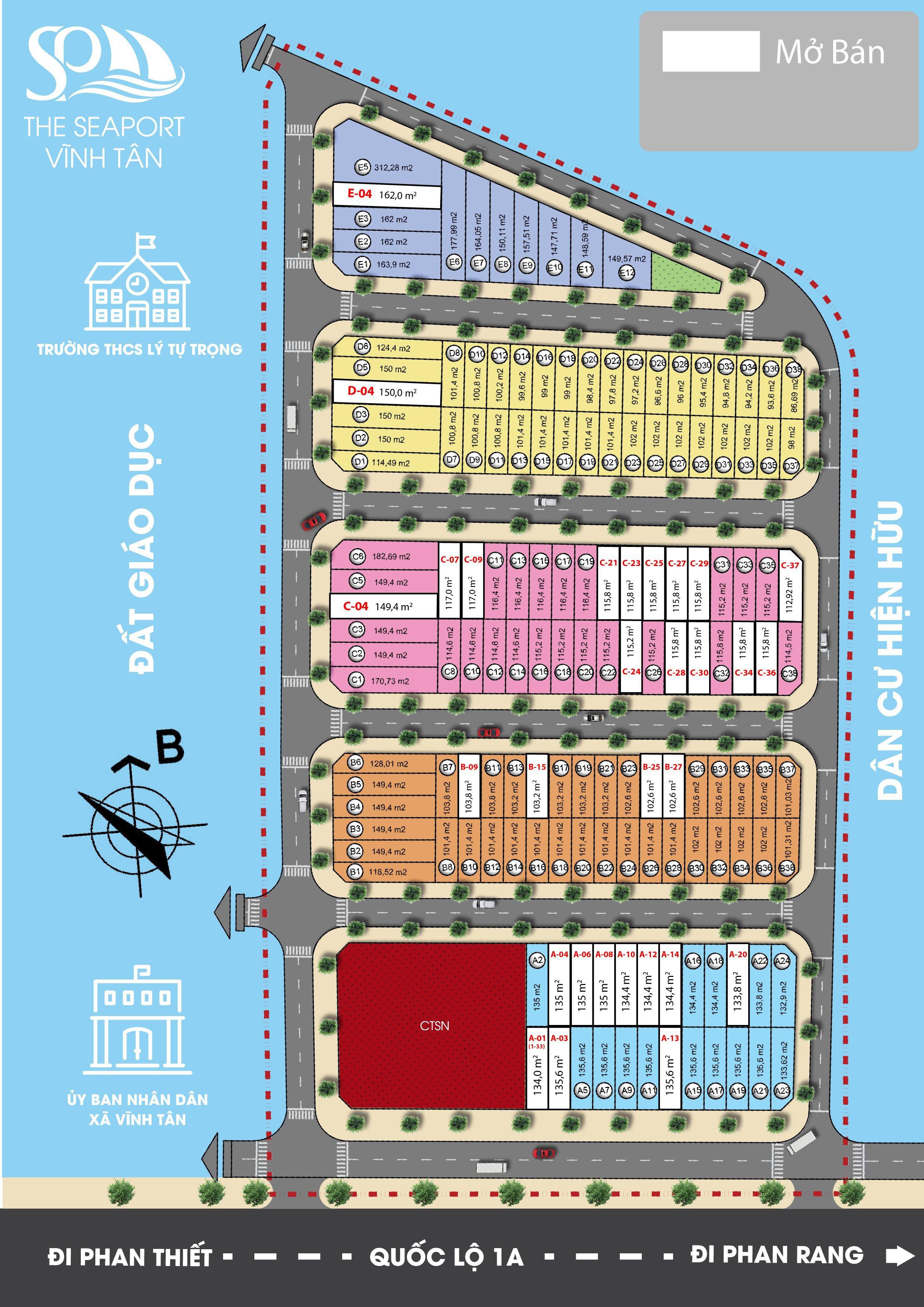 Mặt bằng phân lô Dự án Đất nền Seaport Vĩnh Tân 2021