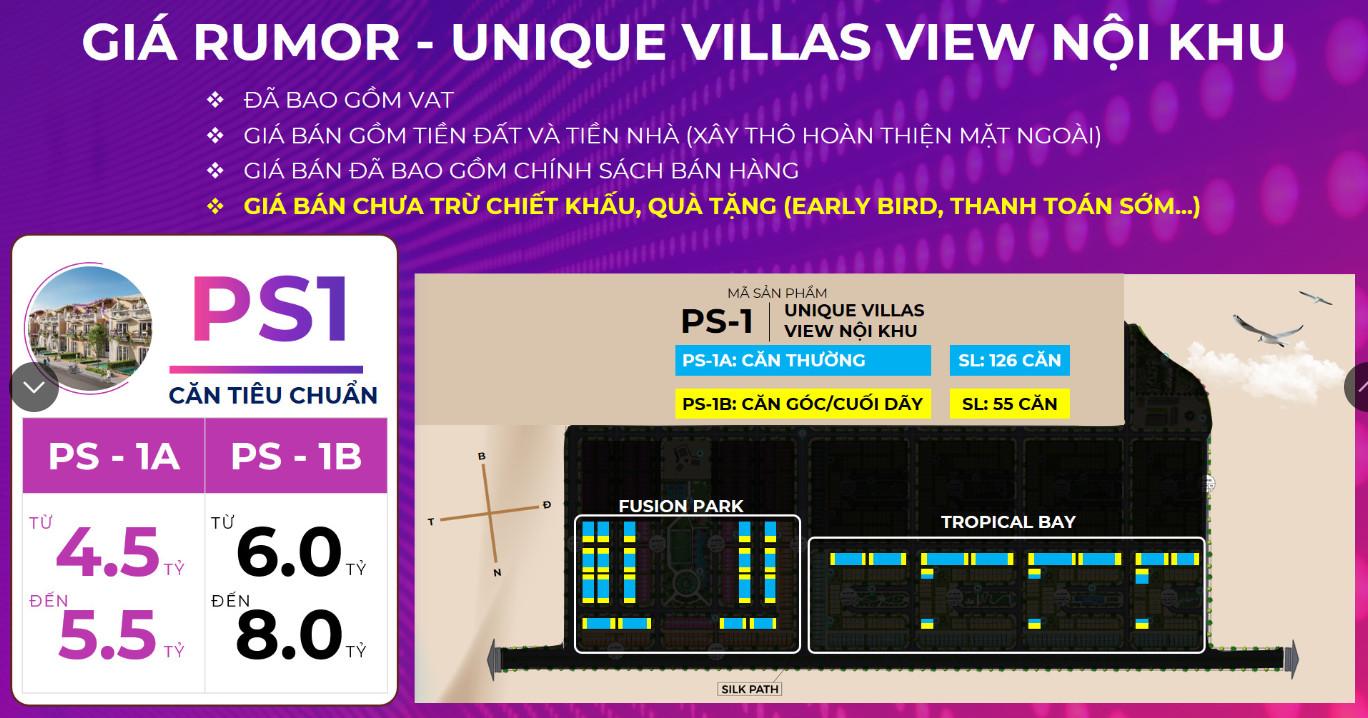 Bảng giá Rumor (Tham khảo) Nhà Liền kề Unique Villas PS1 KN Paradise Cam Ranh