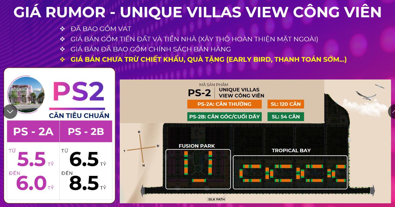 Bảng giá Rumor (Tham khảo) Nhà Liền kề Unique Villas PS2 KN Paradise Cam Ranh