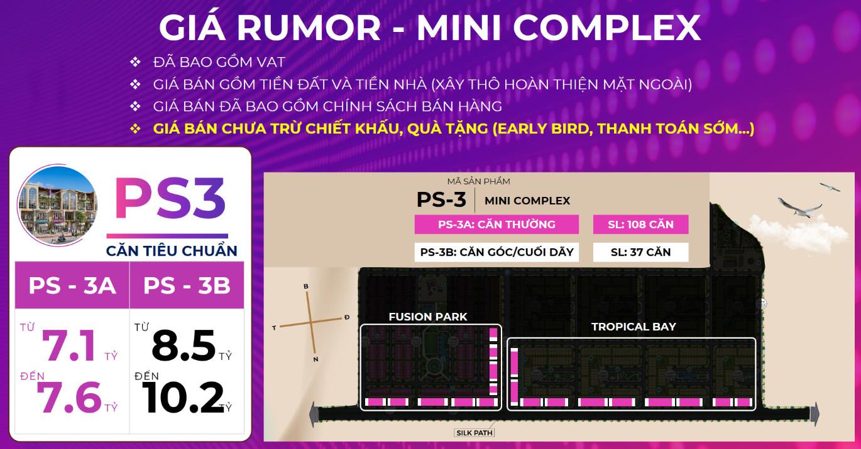 Bảng giá Rumor (Tham khảo) Nhà phố toàn năng Shophouse Mini Complex PS3 KN Paradise Cam Ranh